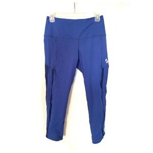 SoulCycle Blue Mesh Panel Capri Tights Leggings